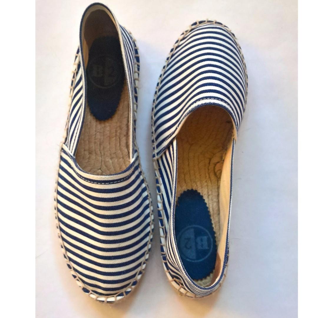 B/2 Espadrilles navy- white stripes, size 8