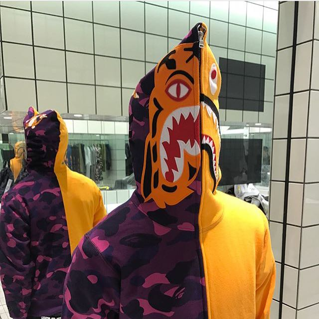 Bape Color Camo Tiger Shark Half Full Zip Hoodie Men S Fashion Clothes On Carousell