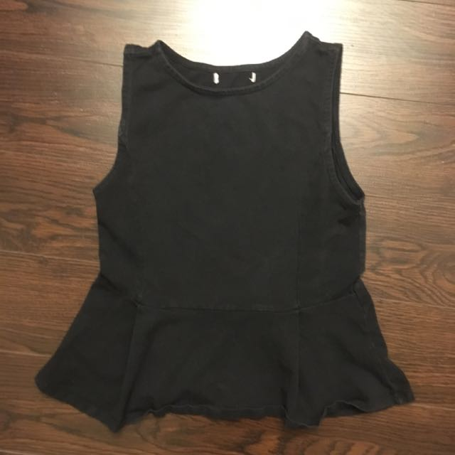 Basic Black Peplum Top - XS Small
