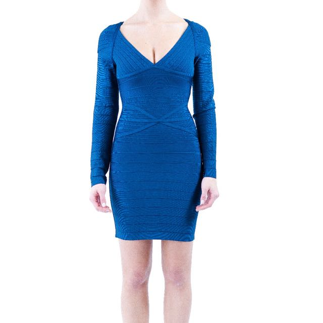 Blue Long Sleeve Bandage Dress