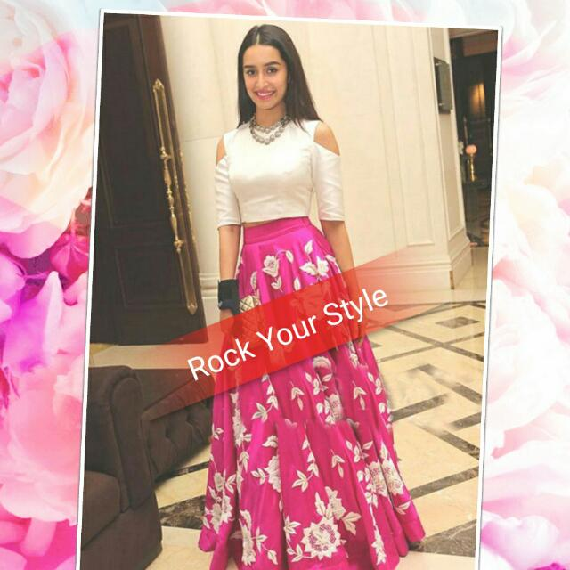 40b235a5716 Bollywood Style Shraddha Kapoor Banglori Silk Party Wear Lehenga Choli In  Pink Colour. Unstitched. Preorder 3-4 Weeks. Bollywood Indian Wear.,  Women's ...