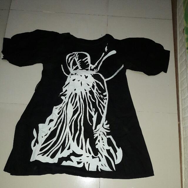 Dress Hitam Katun LD 100cm import