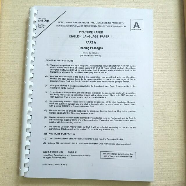 DSE English Practice Paper Marking Scheme Tapescript