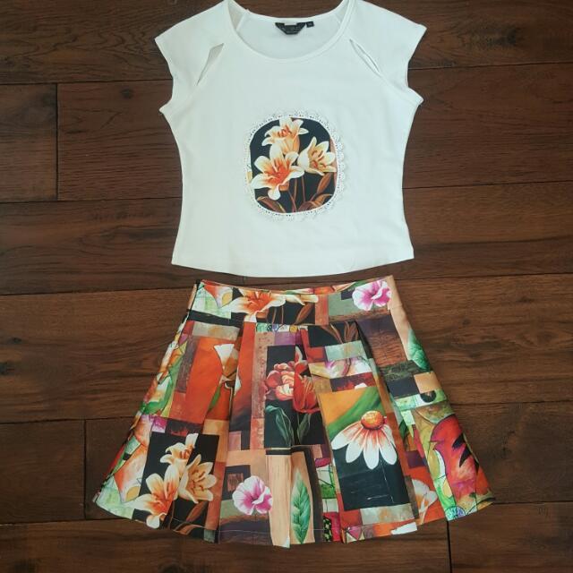 Floral Shirt And Skirt Set