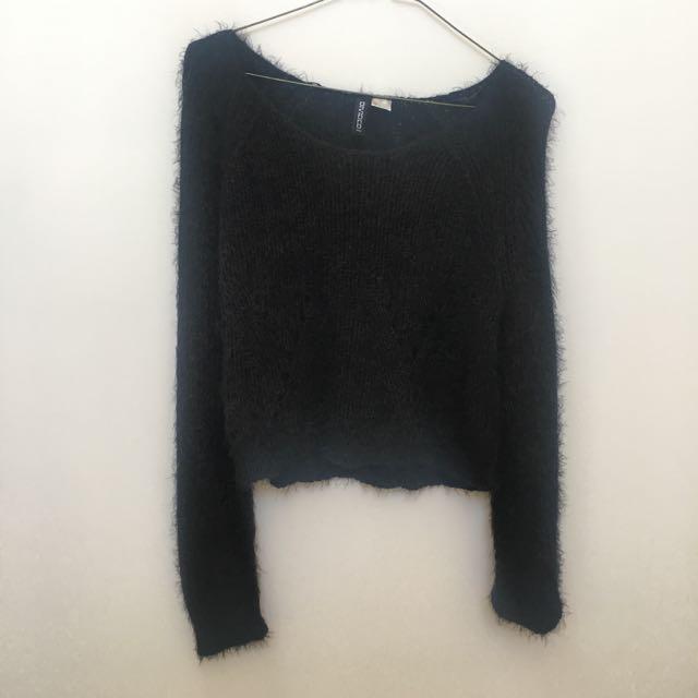 Fluffy Knitted Jumper Black