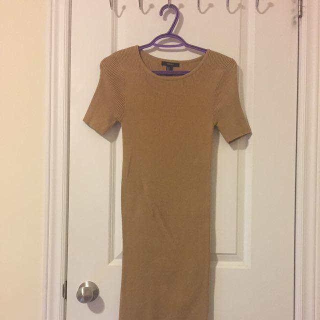 Forever 21 Nude Bodycon Midi Dress
