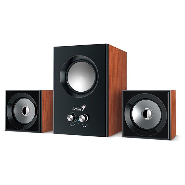 【Genius 昆盈】SW-2.1 375 三件式木質音箱喇叭(原木色) 誠可議