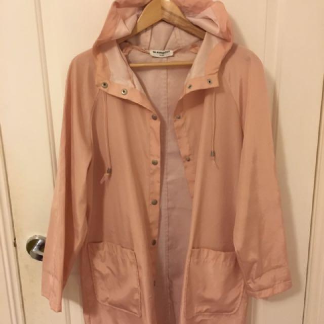 glamorous pink raincoat