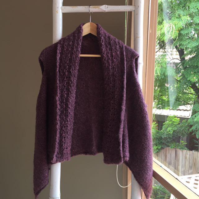 Gorgeous 100% Wool Handknit Sleeveless Cardigan Shawl One Size EUC