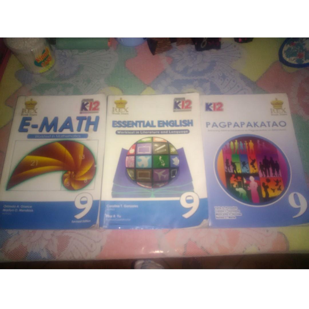 GRADE 9 BOOKS : EMATH, ESSENTIAL ENGLISH, ANG PAGPAPAKATAO