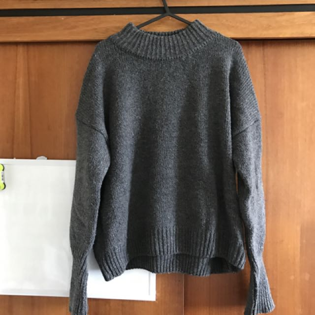 Grey Knitwear Loose Fashion