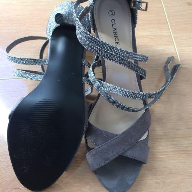 Grey Shoes Medium Size Heels