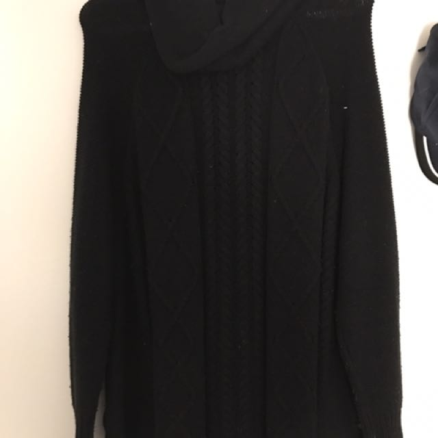 Guess Black Wool Turtle Neck Sweater