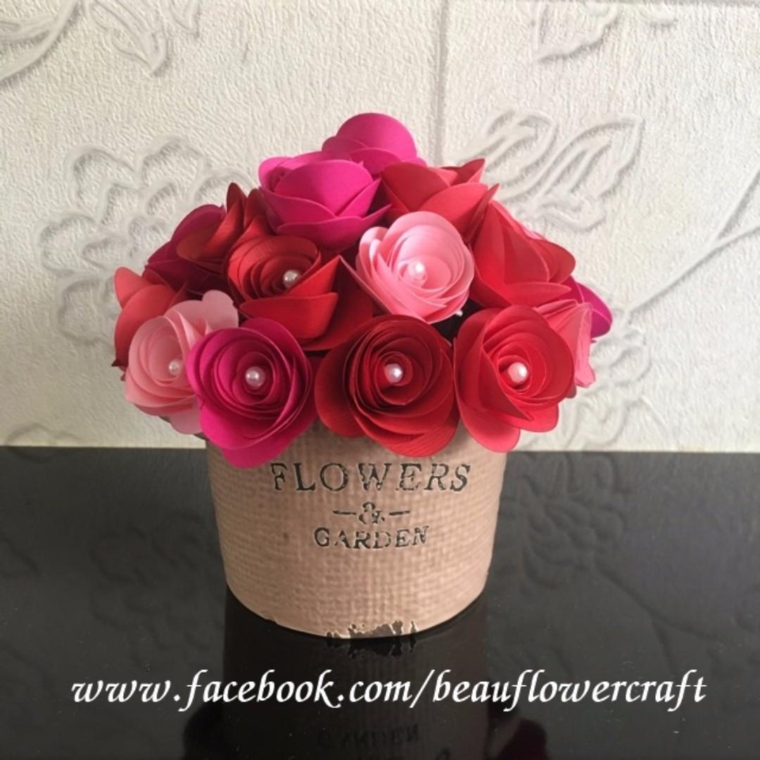 Handmade Rolled Paper Rose Flowers In Pot Design Craft Art