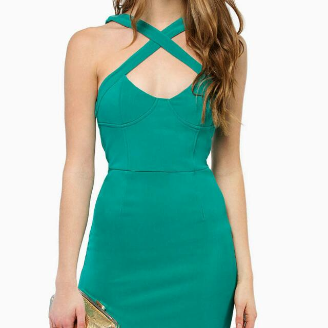 Jade Criss-cross Front Bodycon Dress Size M