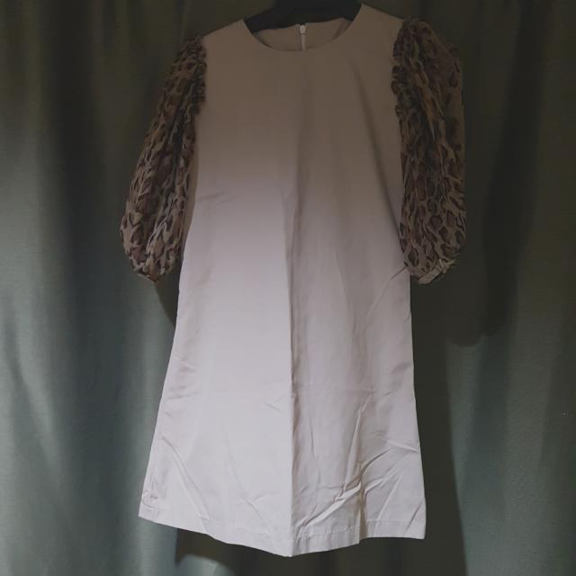 Lady Boss Brown Dress With Animal Print Sleeves