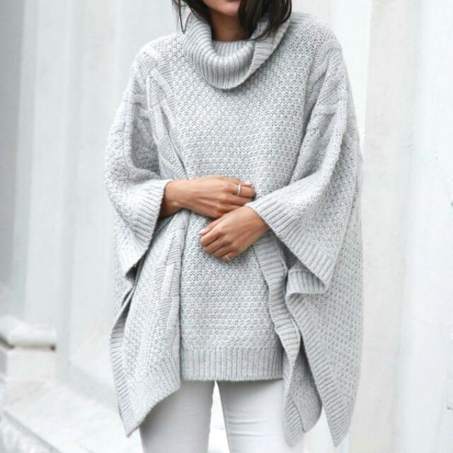 Madison Square Cable Knit Poncho