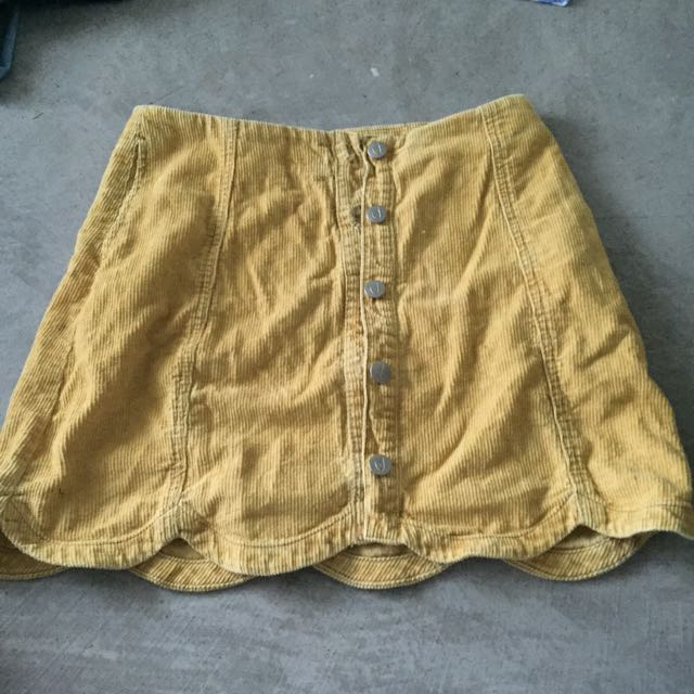 Mink pink Yellow Cord Skirt