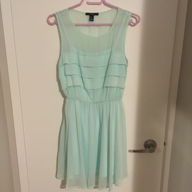 Mint Green-Blue Ruffle Dress
