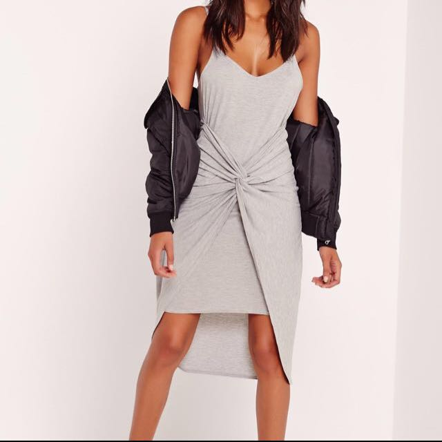 Missguided - Grey Twisted Dress