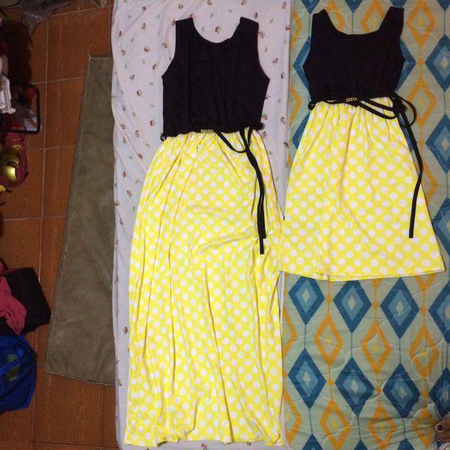 Mother Daughter Black Yellow Polka Dot Sleeveless Long Dress