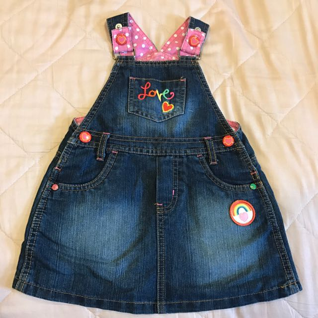 Mothercare 牛仔 刺繡 吊帶裙 why And 12 Carters Baby Gap