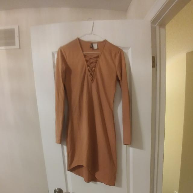 Nude Tie-Up Detail Dress
