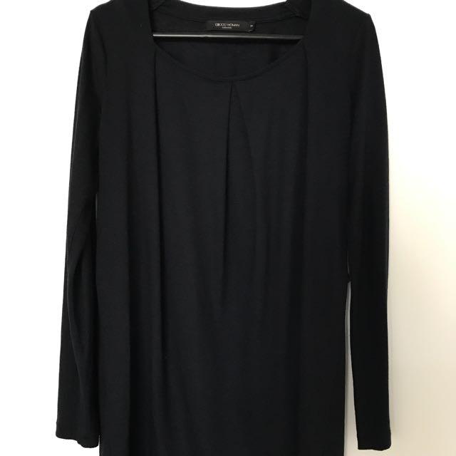 Officewear: Navy Blue Long-sleeve Blouse (Size 38, M/L)