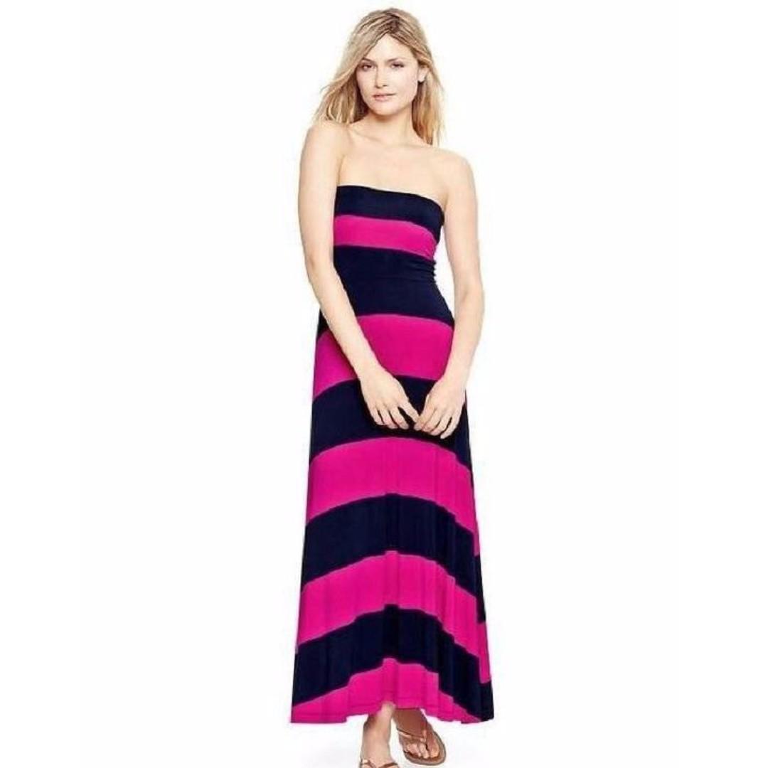 Old Navy Pink & Black Striped Maxi Dress XS