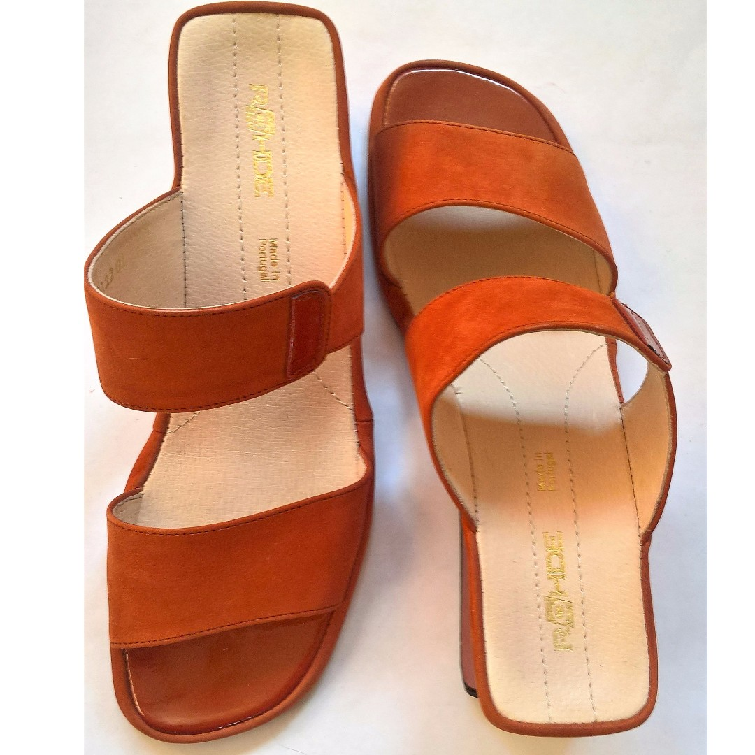 Open back wedge sandals size 8.5.Suede and patent leather combination. Terracotta color. Made in Portugal.