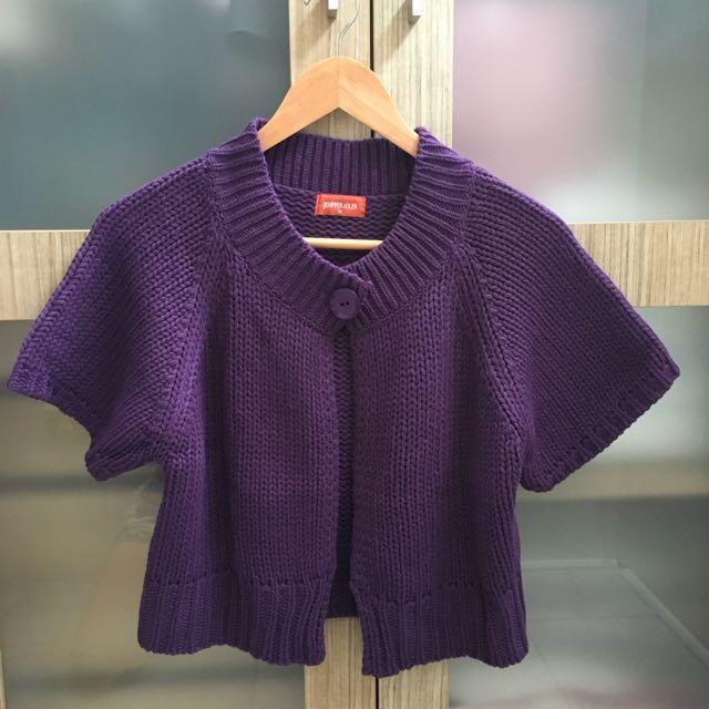 Purple Knit Wool Cardigan