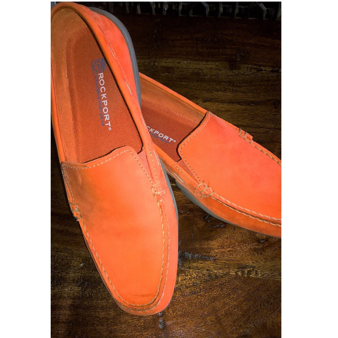 ROCKPORT orange suede woman loafers size 8