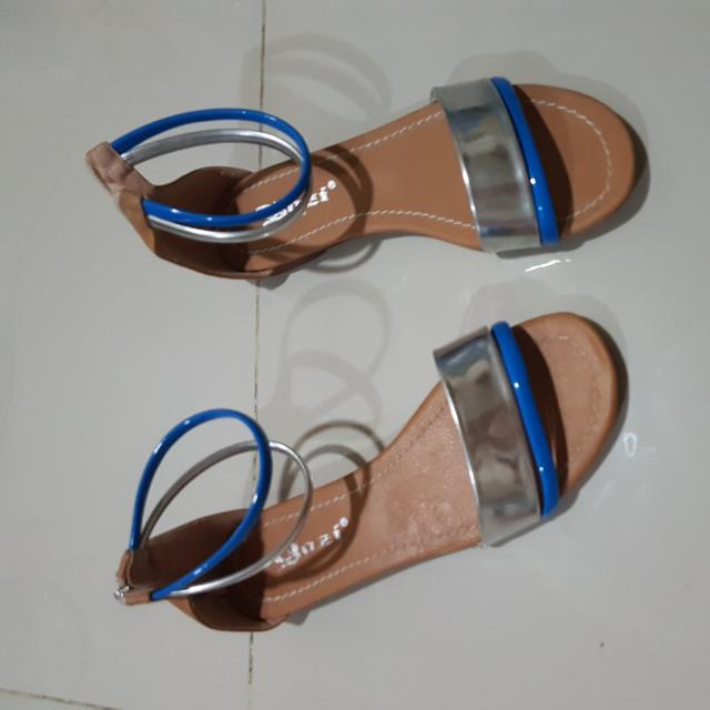 Silver And Blue Straps Sandals