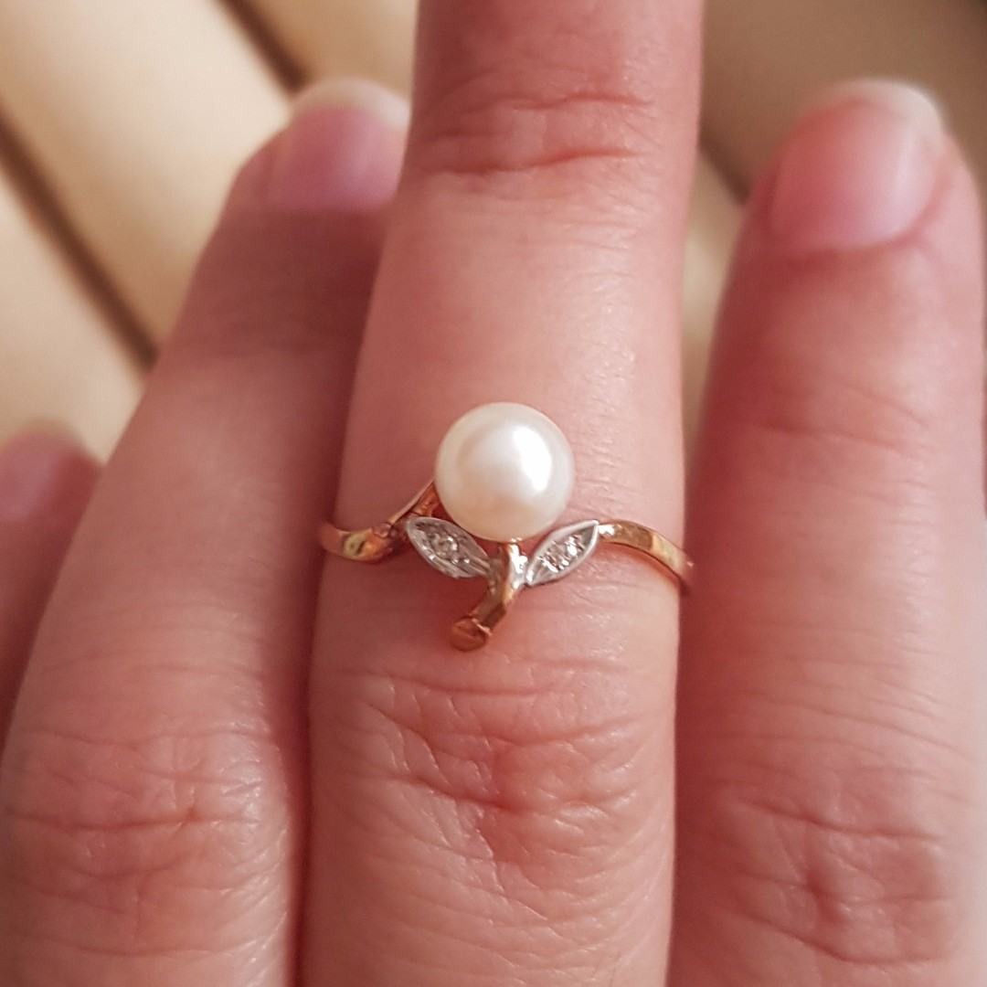 Solid Rose/ Yellow Gold Natural Pearl with Diamond Finger Ring ...