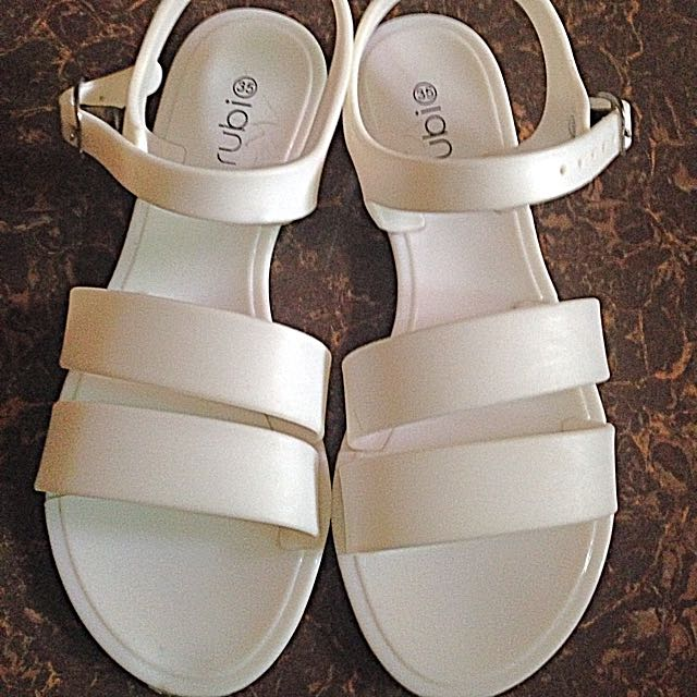 Strappy Jelly White Sandals