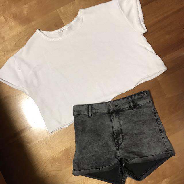 短版白t&灰黑貼身高腰短褲