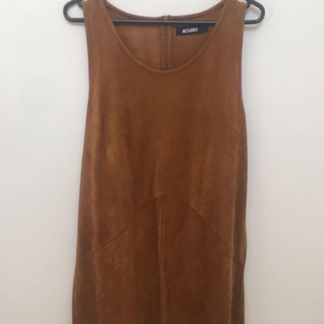 Tan Faux Suede Dress