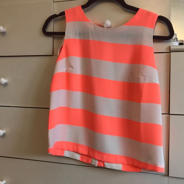 Topshop Coral Striped Top