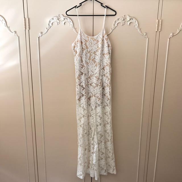 White Lace Boho Jumpsuit