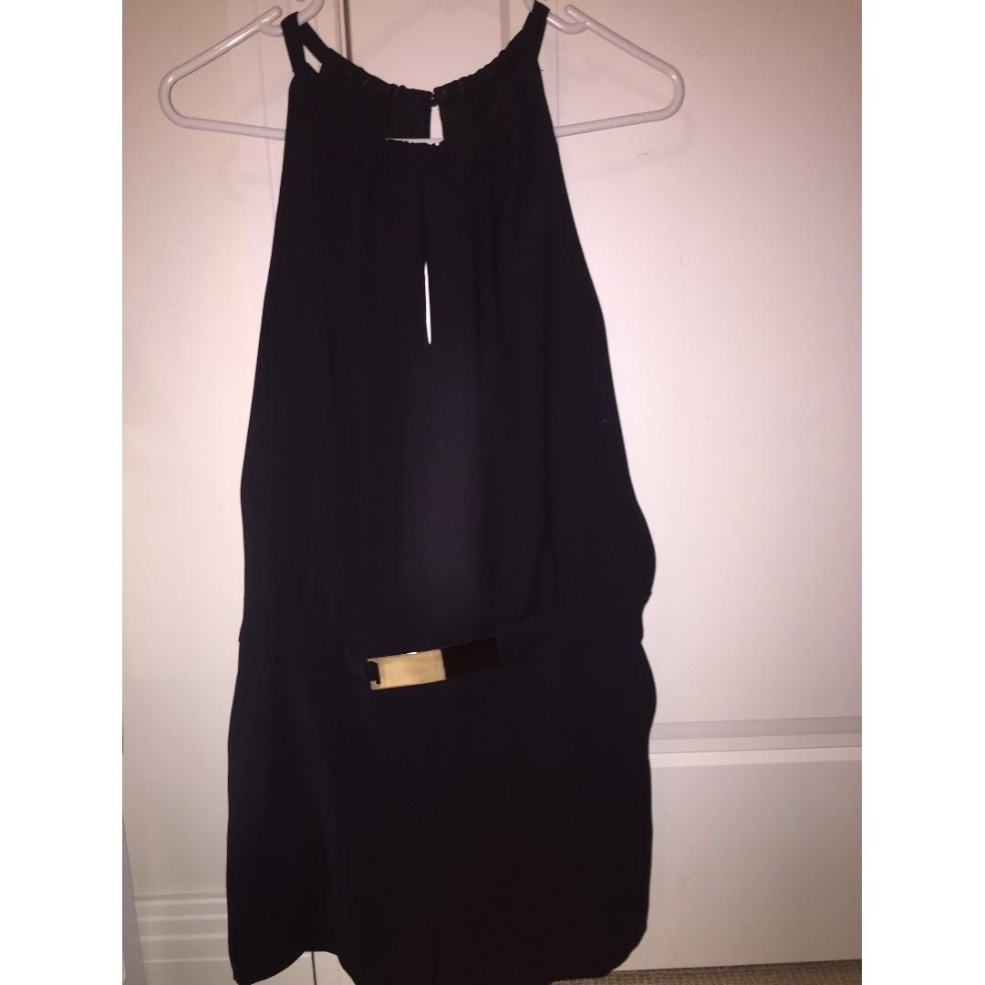 Zara Basic Black Halter Neck Jumpsuit
