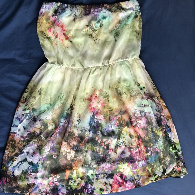 Zara Floral Strapless Dress (L Size)