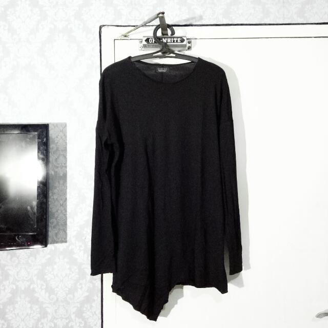 ZARA MAN Long Asymmetric Black T-Shirt