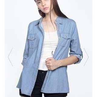 Size S- Mid Wash- Boston Denim Shirt -Fayth Label