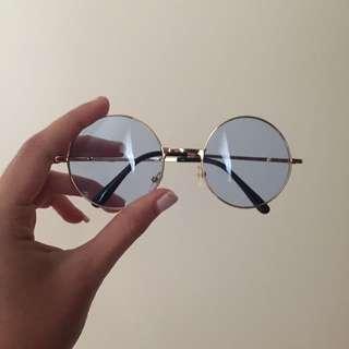 Unisex Vintage Hippy John Lennon Sunglasses In Blue