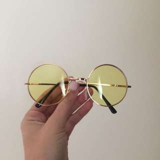 Unisex Yellow Mellow Hippy Sunglasses Vintage Style Round