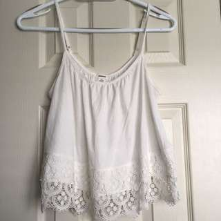 White Lace Garage Tank