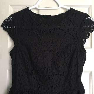 H&M Black Lace Skater Dress