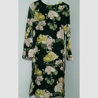 H&M Satin Mid Calf Floral Dress With Side Slits