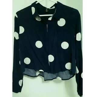 Forever21 Polka Dot Navy Blue Flowy Crop Top