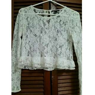 Forever21 Lace Ruffle Crop Top